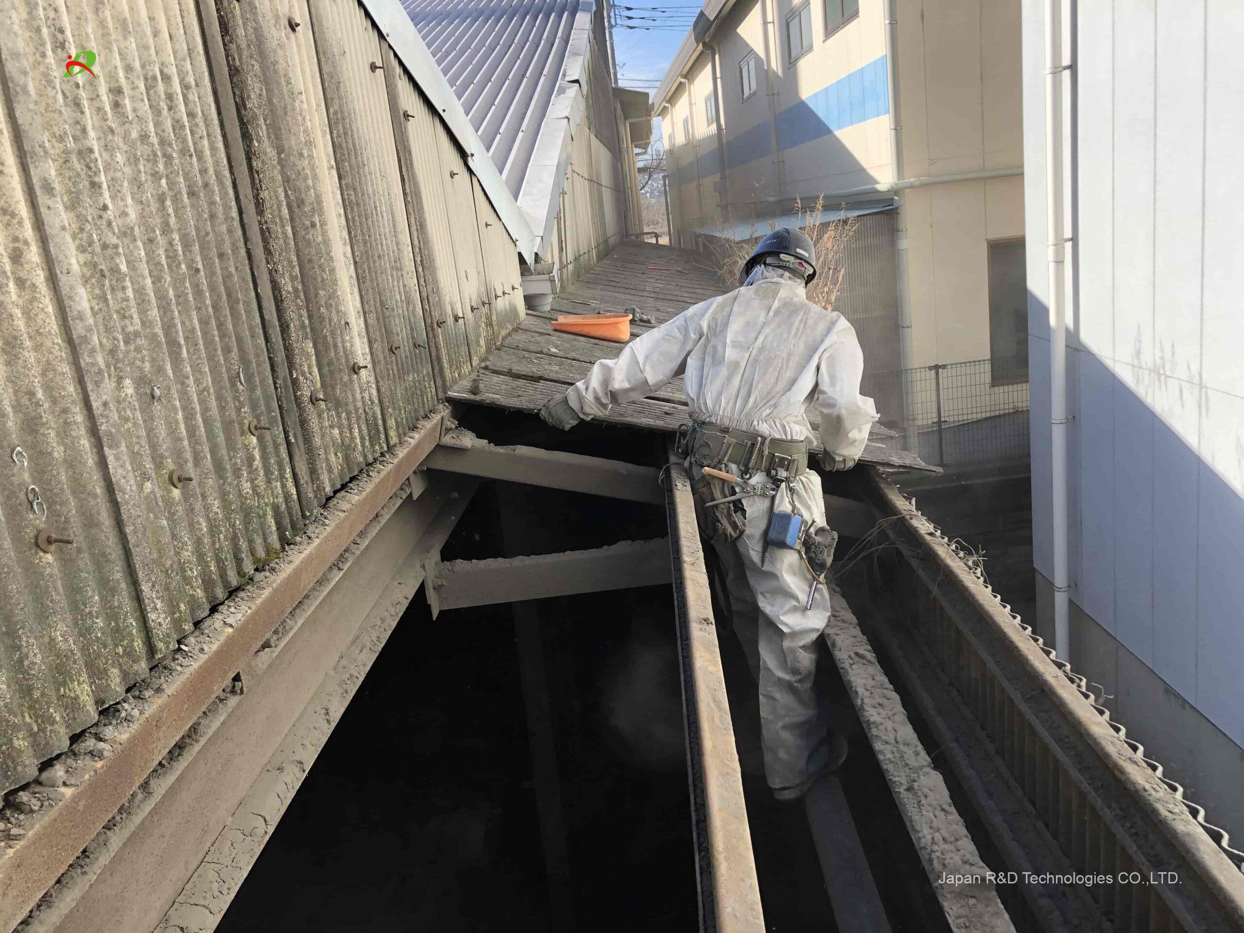 府中市 四谷 アスベスト含有スレート材撤去工事