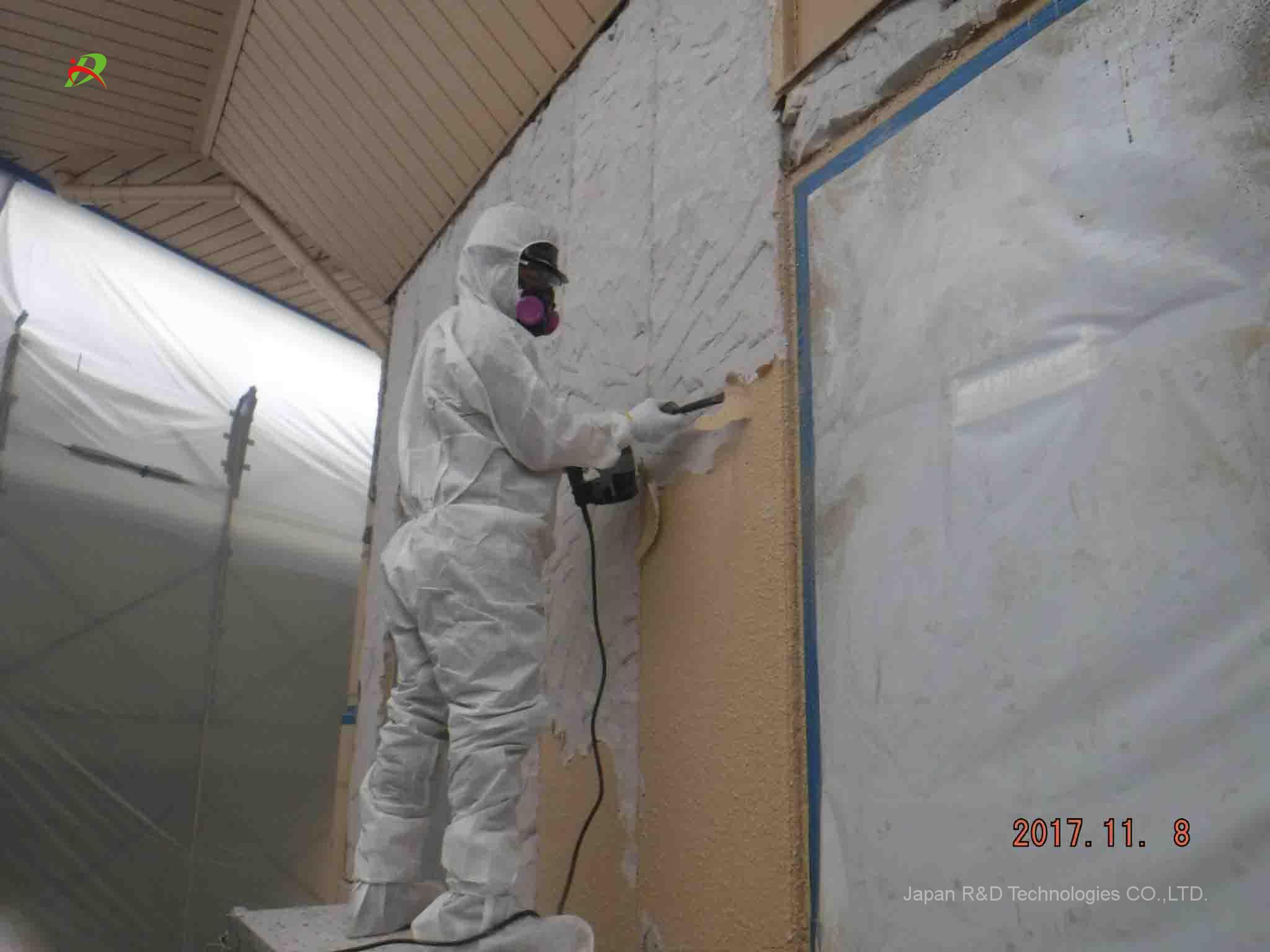 福生市 横田基地内 横田ハイスクール 外壁アスベスト含有塗料除去工事